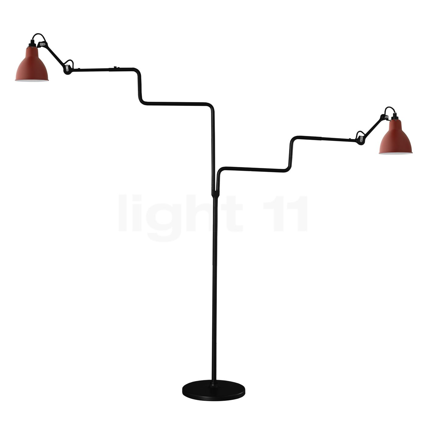 DCW Lampe Gras No 411 Double Stehleuchte, rot 411 DOUBLE BL-RED