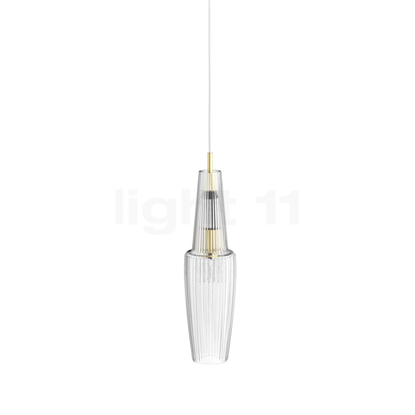 Mawa Gangkofner Pisa Pendelleuchte kristall, transparent, Kabel weiß/Messing gk-pi-cc-9016-me2-wt