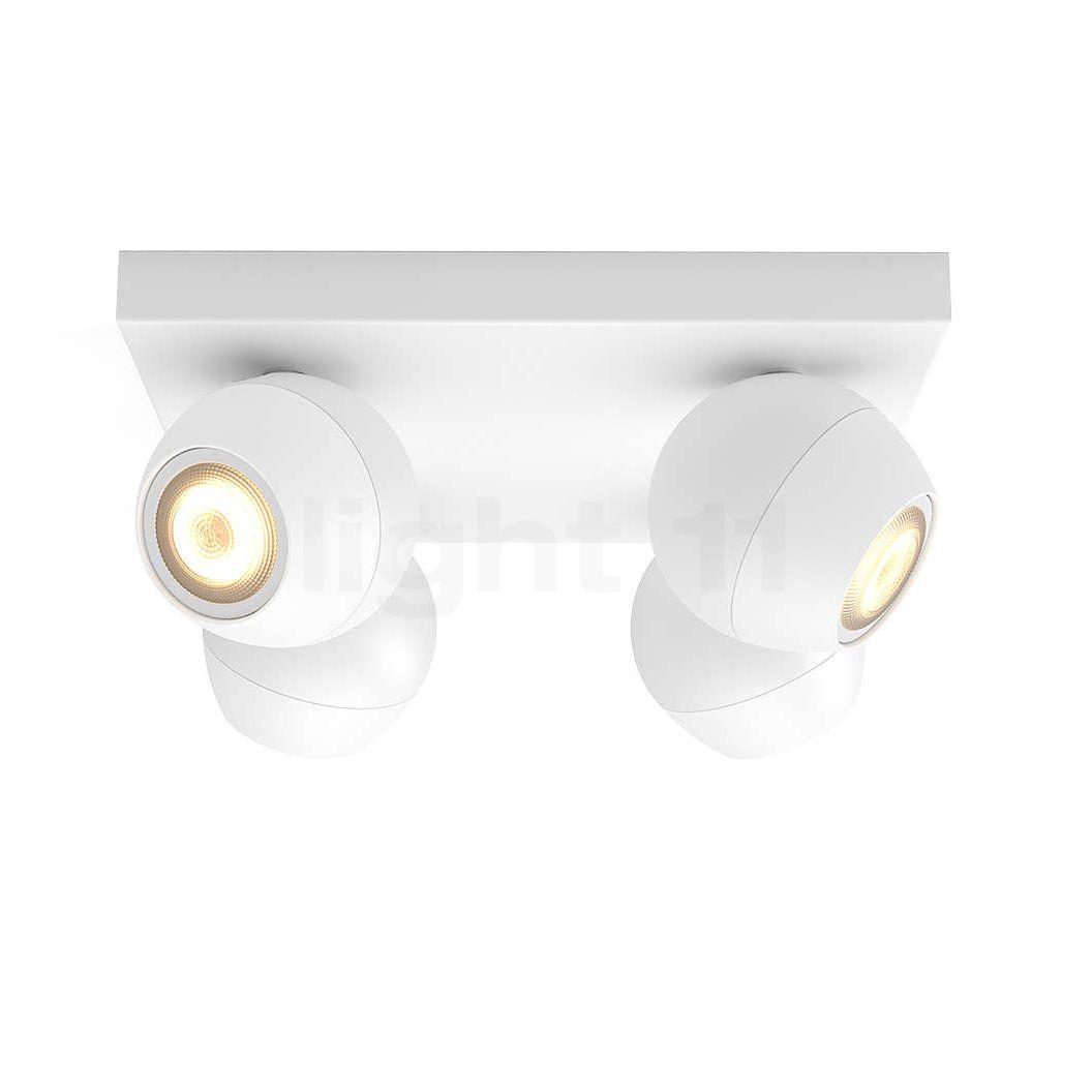 Philips hue White Ambiance Buckram Spot 4-flammig + Dim Switch, weiĂź