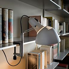 Show light fixtures for cupboards and shelves in the office