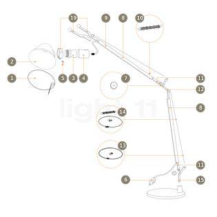 Artemide Ersatzteile für Tolomeo Tavolo und Tolomeo Terra, alu Teil Nr. 26: neue Gabel m. Schelle, Farbe grau