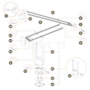 Artemide Pièces détachées pour Tizio 35, noir Pièce n° 1: tête de lampe complète, avec pièce n° 10 et pièce n° 26