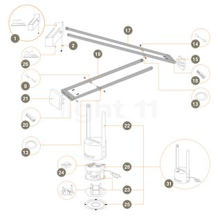Artemide Pièces détachées pour Tizio 50, noir Pièce n° 2: tige d'ajustement de tête de lampe - R305012