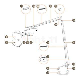 Artemide Reservedele til Tolomeo Lettura, alu Del nr. 5: Afdækning til fatning