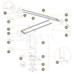 Artemide Reserveonderdelen voor Tizio 50, zwart Onderdeel nr.1: Lamp compleet incl. onderdeel 2 en 26 - R317004