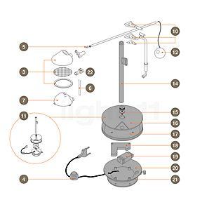 Artemide Spare parts for Nestore Lettura Part no. 2