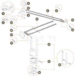 Artemide Spare parts for Tizio Plus Part no. 11: upper connecting bridge (short) , discontinued product
