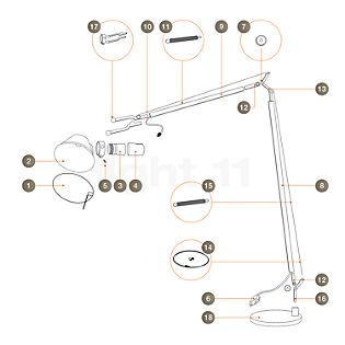 Artemide Spare parts for Tolomeo Lettura, alu Part no. 1: reflector ring