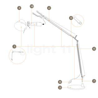 Artemide Spare parts for Tolomeo Micro, alu Part no. 1: upper arm, complete