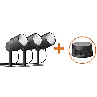 Bega Plug & Play 3er-Set Gartenscheinwerfer mit Erdspieß LED graphit - 24366K3 + 13566 inkl. Smart Tower