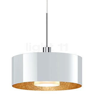 Bruck Cantara Pendelleuchte LED Duolare - ø30 cm chrom glänzend, Glas weiß/gold