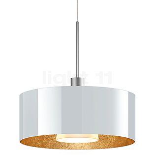 Bruck Cantara Pendelleuchte LED Niedervolt - ø30 cm chrom matt, Glas weiß/gold