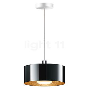 Bruck Cantara Suspension LED basse tension - ø30 cm chrome brillant, verre noir/doré