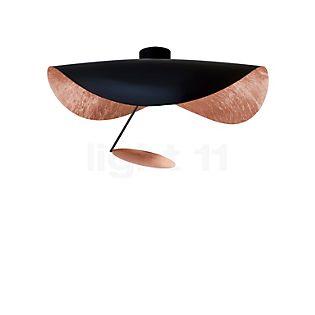 Catellani & Smith Lederam Manta CWS1 Wand-/Deckenleuchte LED Scheibe Kupfer, Stab schwarz, Schirm schwarz/Kupfer