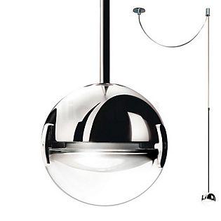Cini&Nils Convivio, lámpara de suspensión LED cromo con lente transparente
