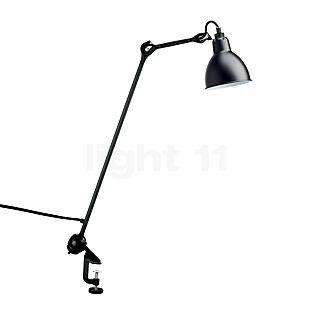 DCW Lampe Gras No 201 Lampe à étau noire, abat-jour rond noir/cuivre