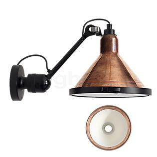 DCW Lampe Gras No 304 XL Seaside Outdoor, lámpara de pared negra y cónica cobre rústico/blanco