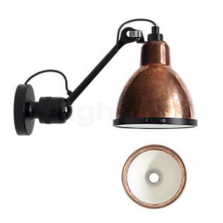 DCW Lampe Gras No 304 XL Seaside Outdoor, lámpara de pared negra y redonda cobre rústico/blanco