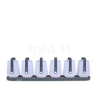 Fermob Balad 12 cm LED 6er-Set inkl. 6-poliger Ladestation Gewittergrau