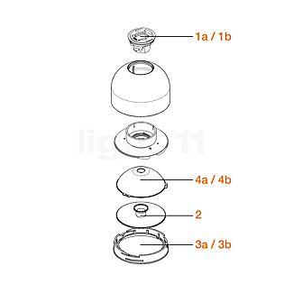 Flos Ersatzteile für Wan Decken-/Wandleuchte Teil Nr. 1a: Fassung G9