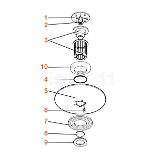 Flos Pezzi di ricambio per Moni Pezzo n°1: attacco a muro/soffitto completo di portalampada