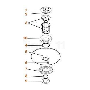 Flos Pièces détachées pour Moni Pièce n° 1 : attache-plafond, complet avec douille