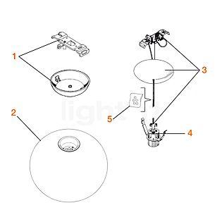 Flos Reserveonderdelen voor Glo-Ball S1 Onderdeel nr. 1: plafondkapje compleet
