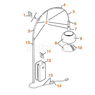 Flos Spare parts for Arco Part no. 2: arc complete incl. Part 3, 4, 5, 6, 7 and 15