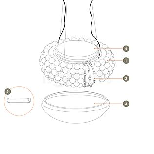 Foscarini Reservedele for Caboche Sospensione Part no. 1: 10 spheres clear
