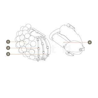 Foscarini Spare parts for Caboche Parete Part no. 1: 10 spheres clear