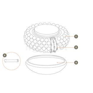 Foscarini Spare parts for Caboche Soffitto Part no. 1: 10 spheres clear