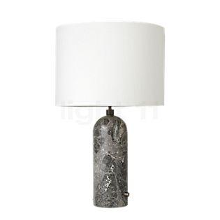 Gubi Gravity Large, lámpara de sobremesa pantalla blanca/pie mármol gris