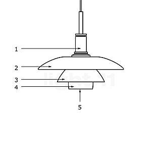 Louis Poulsen Piezas de repuesto para lámpara de suspensión PH 4½-4 en vidrio pieza n.º 1