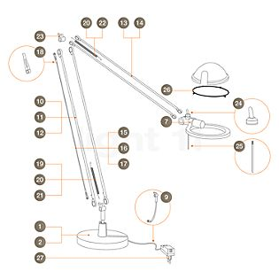 Luceplan Pezzi di ricambio Berenice alluminio Pezzo n° 1: piede per Berenice Tavolo e Terra