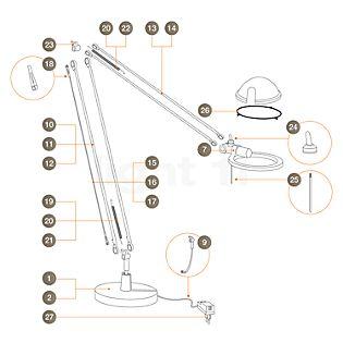 Luceplan Piezas de repuesto Berenice en aluminio pieza n.º 1: pie para Berenice Tavolo y Terra