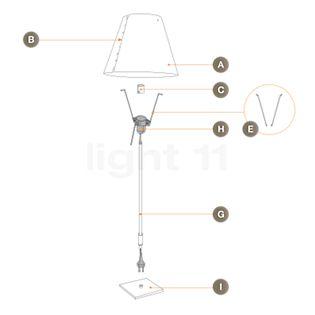 Luceplan Piezas de repuesto para Costanzina Tavolo en aluminio pieza B: set de botones, 8 uds.