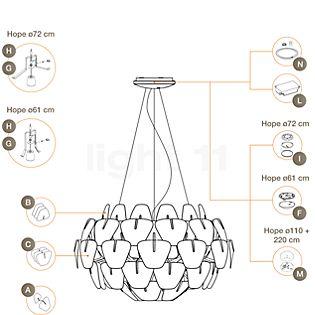 Luceplan Piezas de repuesto para lámpara de suspensión Hope Pieza A: lentes con soporte