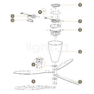 Luceplan Spare parts for Blow Part No. 1: set of fan blades, transparent