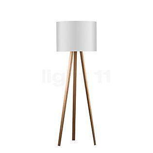 Maigrau Luca Stand High Floor Lamp oak, natural, oiled; lampshade, white