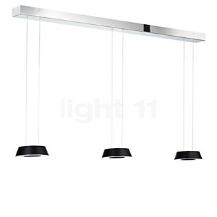Oligo Glance Hanglamp LED 3-lichts met onzichtbare hoogteverstelling zwart mat / plafondkapje chroom