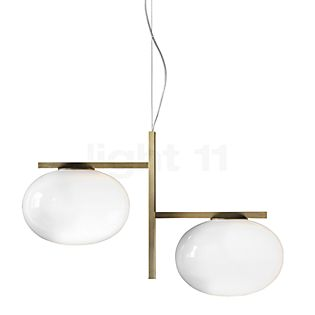 Oluce Alba Hanglamp 2-lichts messing/opaalglas glanzend
