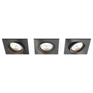 Philips myLiving LED Recessed Spotlight Shellbark, square, set of 3 anthracite