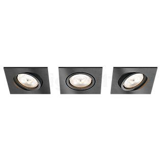Philips myLiving Shellbark Spot encastré LED, carré, lot de 3 anthracite
