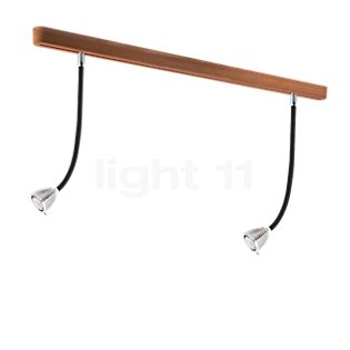 less 'n' more Athene A-2PDL2 Ceiling Light 2 lamps LED black, head aluminium, oak natural