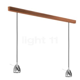 less 'n' more Ylux Y-2PPL Pendant Light 2 lamps LED black, head aluminium, oak natural