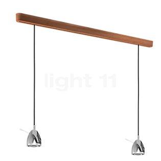 less 'n' more Ylux Y-2PPL, lámpara de suspensión 2 focos LED negro, cabezal aluminio, roble natural