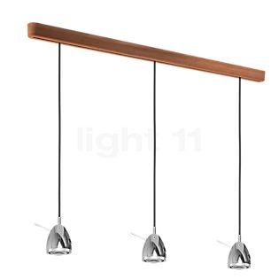 less 'n' more Ylux Y-3PPL, lámpara de suspensión 3 focos LED negro, cabezal aluminio pulido, roble natural