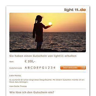 light11.de Gutschein als E-Mail Licht 1
