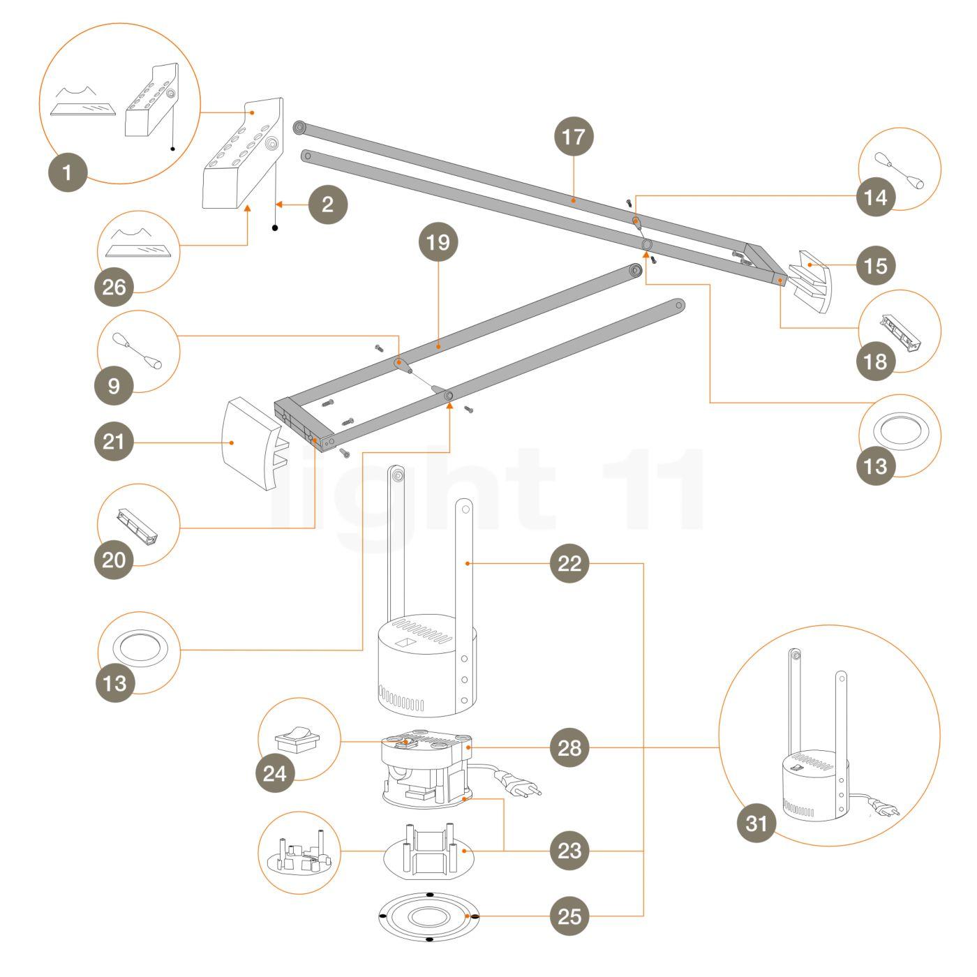 artemide ersatzteile f r tizio 50 in schwarz kaufen bei. Black Bedroom Furniture Sets. Home Design Ideas