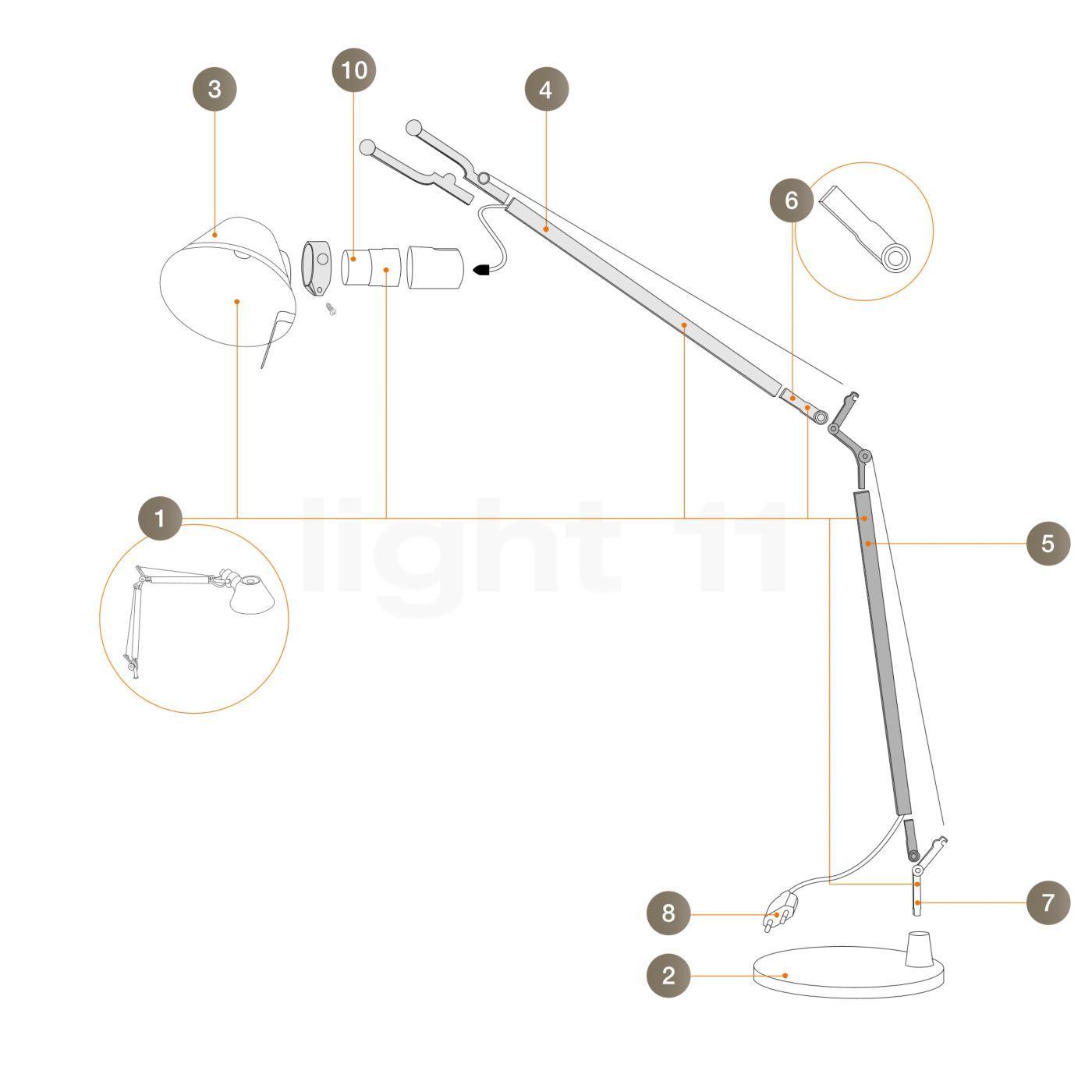 artemide ersatzteile f r tolomeo micro in aluminium kaufen bei. Black Bedroom Furniture Sets. Home Design Ideas